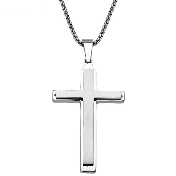 Stainless Steel Mens Layered Cross Pendant