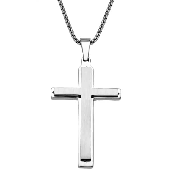 fa8280bbbf36d7 Shop Stainless Steel Mens Layered Cross Pendant - White - On Sale ...