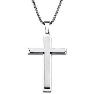 Stainless Steel Mens Layered Cross Pendant - White
