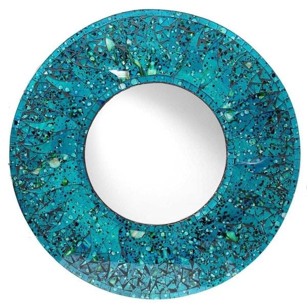 24-inch Blue Glass Mosaic Mirror (Indonesia)