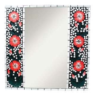 24-inch Glass Flower Mosaic Mirror (Indonesia)