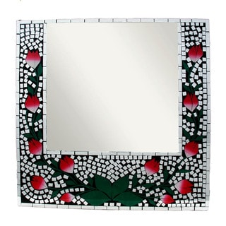 24-inch Glass Rose Mosaic Mirror (Indonesia)