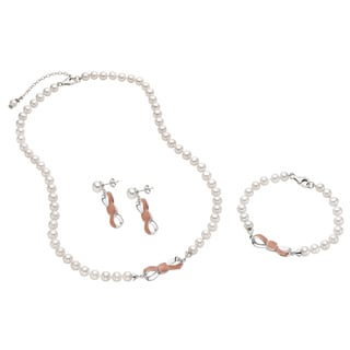 Pearlyta Sterling Silver Freshwater Pearl and Enamel Bow Jewelry Set (7-8mm)