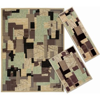 Nourison Patchwork Collection Beige 3-piece Rug Set (2'2 x 7'3) (3'11 x 5'3) (7'10 x 10'6)