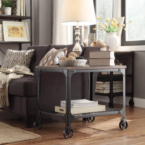 Nelson Rectangle Industrial Modern Rustic End Table by iNSPIRE Q Classic
