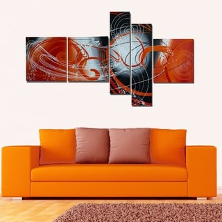 'The Afterglow' 5-piece Red Abstract Painting