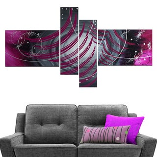 'The Colliding Galaxies' 4-piece Purple Abstract Painting