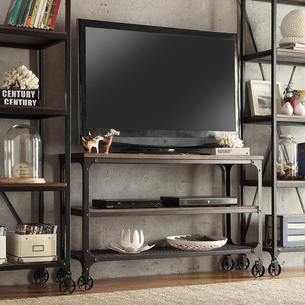 33 Inspiring Industrial Style Home Offices That Sport: Nelson Industrial Modern Rustic Console Sofa Table TV
