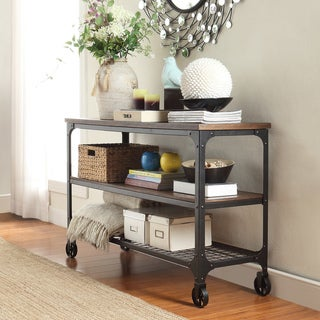 TRIBECCA HOME Nelson Industrial Modern Rustic Console Sofa Table TV Stand