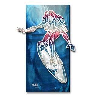 Megan Duncanson 'Girl Surfing 1' Metal Wall Sculpture