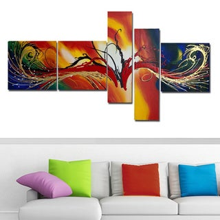 'Abstract Multicolor' 5-piece Multicolor Abstract Painting (As Is Item)