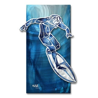 Megan Duncanson 'Guy Surfing 1' Abstract Metal Wall Art