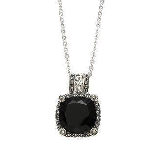 MARC Sterling Silver Cushion Black Onyx & Marcasite Pendant 18""