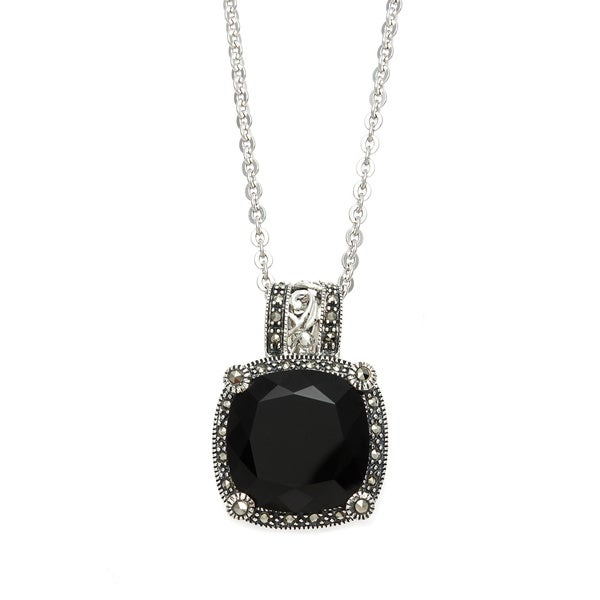 Shop marc sterling silver and marcasite pendant set with black onyx marc sterling silver and marcasite pendant set with black onyx in 18 inch chain aloadofball Choice Image