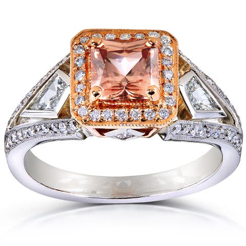 Annello by Kobelli 14k Gold Brown Zircon and 3/5ct TDW Diamond Halo Ring (G-H, VS1-VS2)
