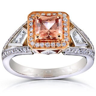 Annello by Kobelli 14k Gold Brown Zircon and 3/5ct TDW Diamond Halo Ring (G-H, VS1-VS2)