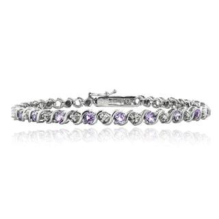 Glitzy Rocks Silvertone Gemstone Diamond Accent Tennis Bracelet