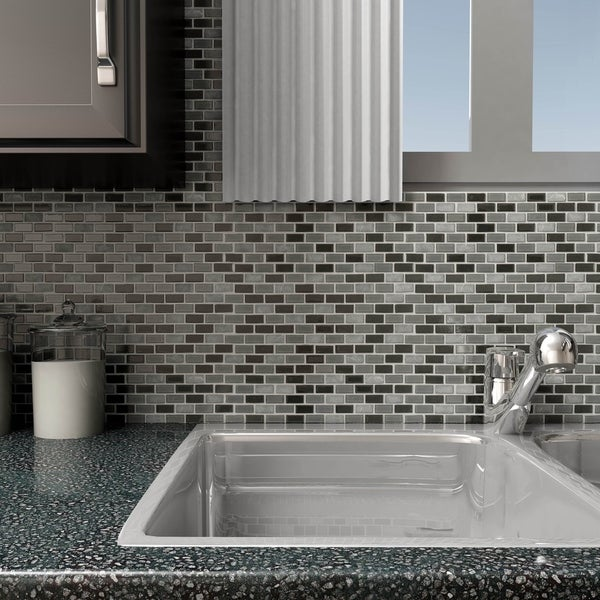 SomerTile 11.25x11.75-inch View Mini Subway Citadel Glass and Stone Mosaic Wall Tile (16 tiles/14.72 sqft.)