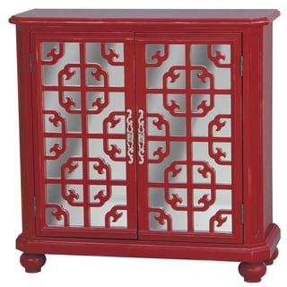 Hand Painted Distressed Red and Mirrored Finish Accent Chest