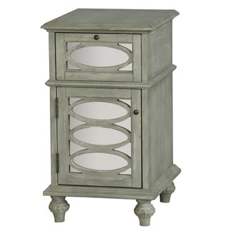 Hand Painted Distressed Washed Green and Mirrored Finish Accent Chest
