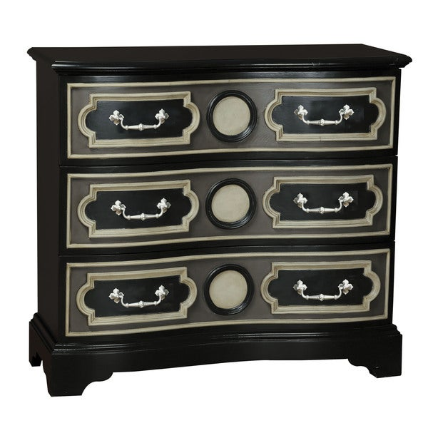 Hand Painted Distressed Black Finish Accent Chest