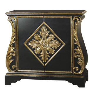 Hand Painted Distressed Black and Gold Finish Accent Chest