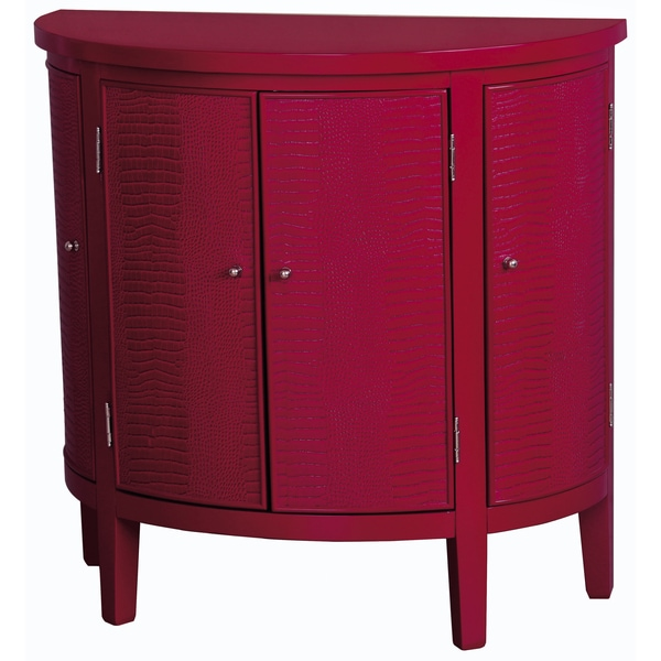 Faux Crocodile Print Red Finish Accent Chest