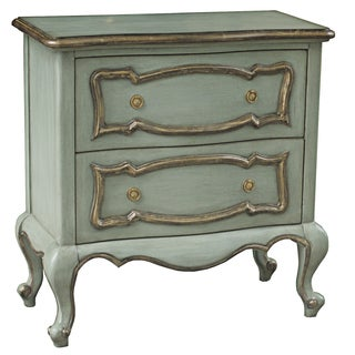 Hand Painted Distressed Light Green Finish Accent Chest
