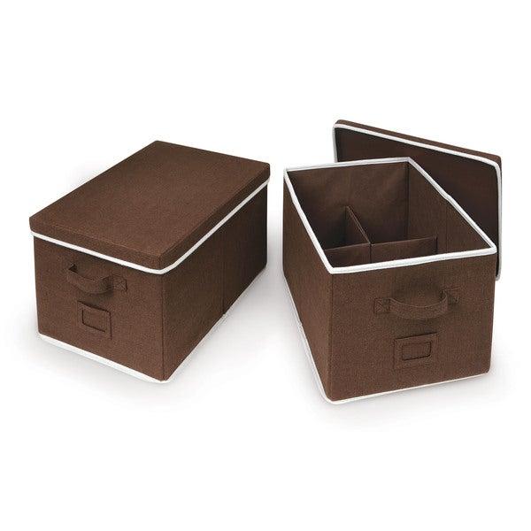 Badger Basket Espresso Large Folding Storage Baskets (Set of 2)