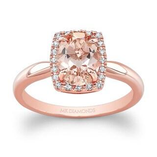 14k Rose Gold 1/10ct TDW White Diamond and Morganite Halo Style Ladies Ring (J-K, I2-I3)