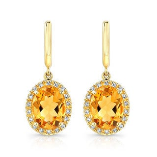 14k Yellow Gold 1/6ct TDW White Diamond and Citrine Halo Style Earrings (J-K, I-1-I2)