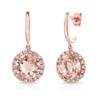 14k Rose Gold 1/5ct TDW White Diamond Drop Gemstone Earrings (J-K, I1-I2)