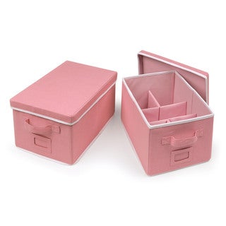 Badger Basket Pink Medium Folding Storage Baskets with Adjustable Dividers (Set of 2)