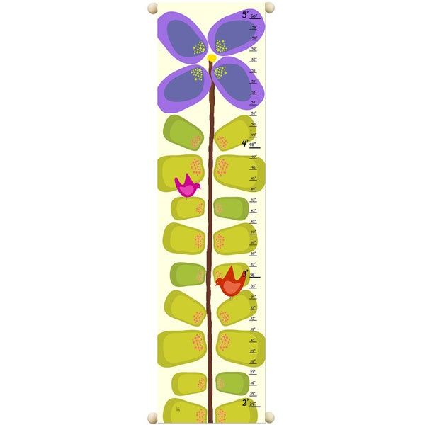 Shop Purple Flower Children Canvas Growth Chart Free Shipping On