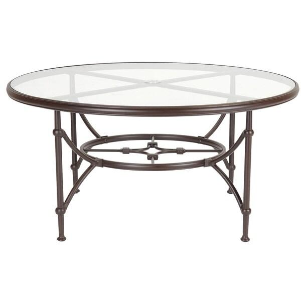 Origin Tempered Glass Aluminum Frame Espresso Finish Dining Table