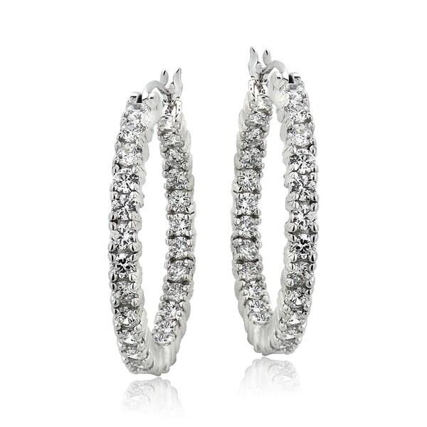 ICZ Stonez Cubic Zirconia Inside Out 25 mm Hoop Earrings