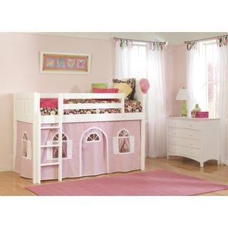 Cottage White/ Pink Low Loft Bottom Playhouse Curtain and Ladder Twin Bed