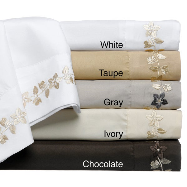 Morning Glory 4-piece Embroidered Sheet Set
