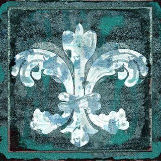 Art in Style Fleur de Lis White Giclee on Canvas Wall Art
