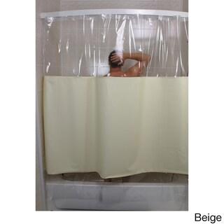 SneakPeek Solid Color w/ Clear Vinyl Shower Curtain (Option: Beige)