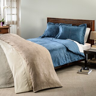 Oversized Microsuede Saddle 3-piece Duvet Cover Set