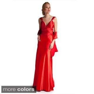 Satin Cross-strap Evening Dress