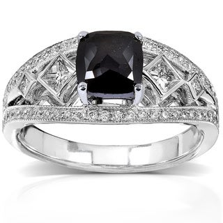 Annello by Kobelli 18k White Gold 1 3/4ct TDW Cushion Cut Black and White Diamond Ring