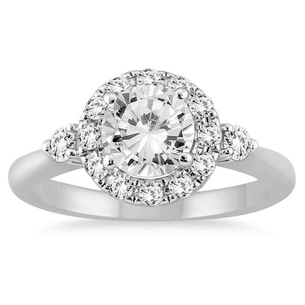 Marquee Jewels 14k White Gold 1 2/5ct TDW Round Halo Diamond Ring (I-J, I2-I3)