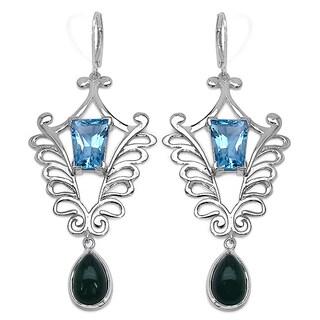 Sterling Silver 8 3/10ct TGW Emerald and Swiss Blue Topaz Earrings