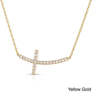 Eloquence 14k White or Yellow Gold 1/3ct TDW Diamond Curved Cross Pendant