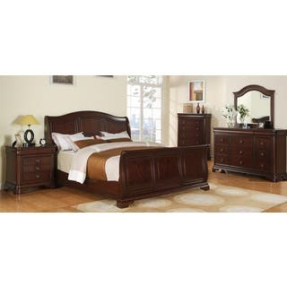 Gracewood Hollow Bujalski Cherry Sleigh 5 Piece Bedroom Set