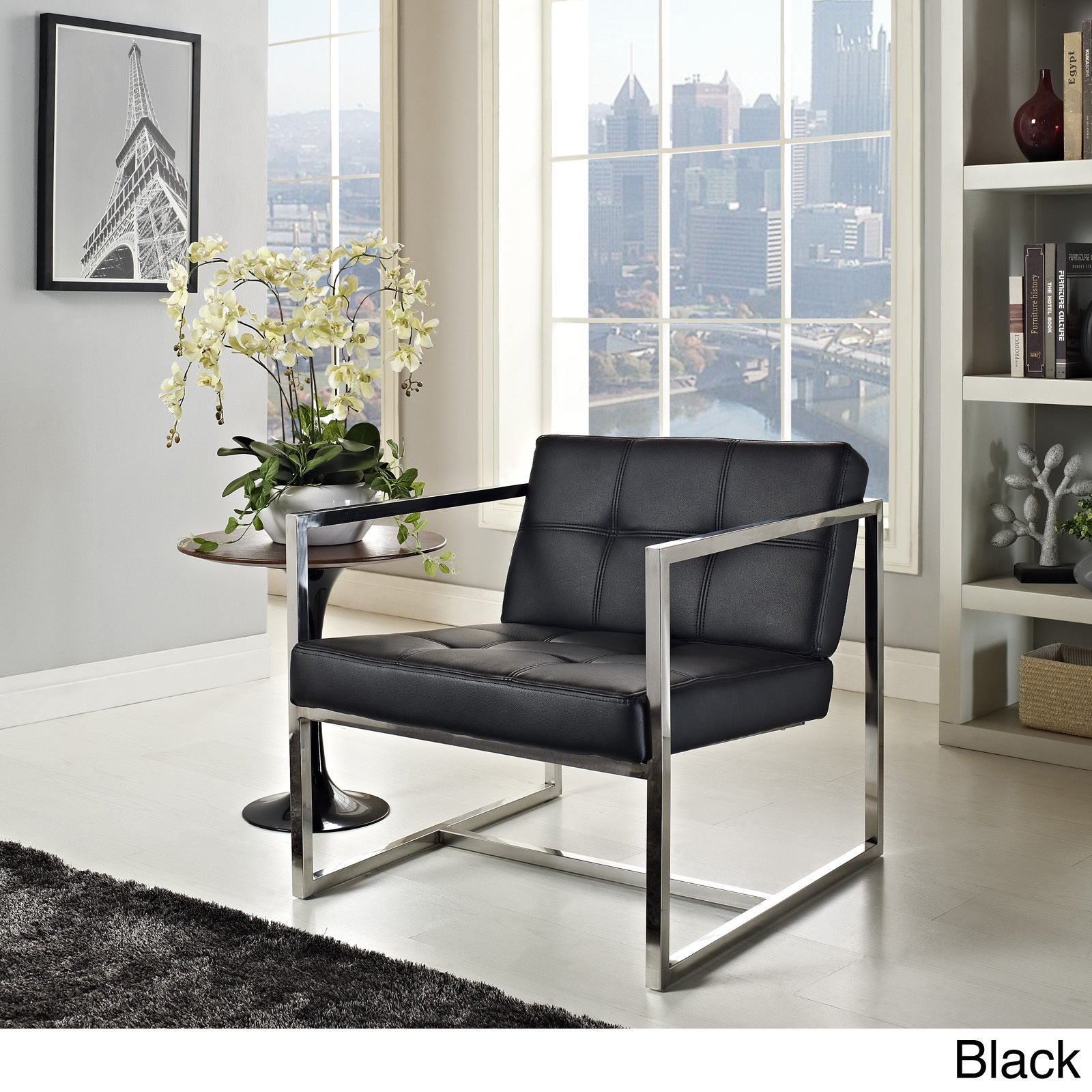 Shop Silver Orchid Lee Hover Black Modern Reception Chair