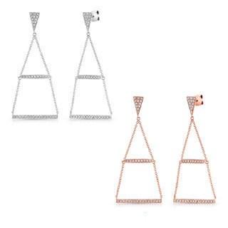 Victoria Kay 14k White Gold 1/2ct TDW Geometric Triangle Diamond Chandelier Earrings (J-K, I2-I3)