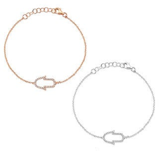 Victoria Kay 14k Gold 1/6ct TDW East-West Sideways Hamsa Diamond Bracelet (J-K, I2-I3)